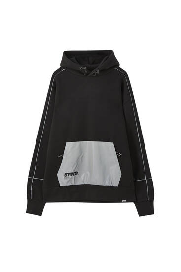 Black hoodie with reflective details