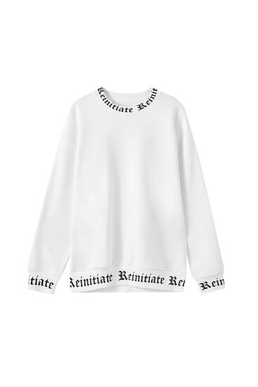 Ribbed sweatshirt with slogan