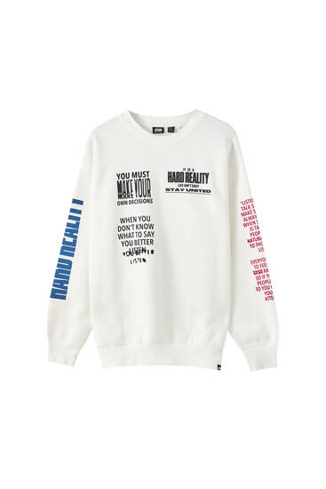 White STWD sweatshirt with slogan