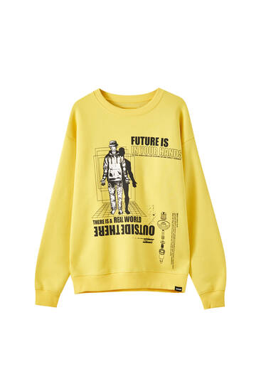 Sweatshirt med gul illustration