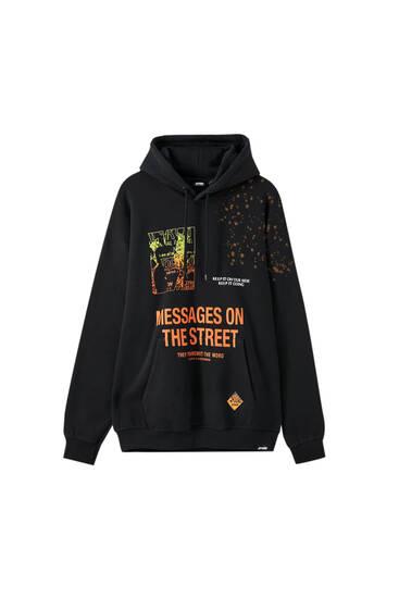 Melns džemperis ar kapuci un STWD apdruku