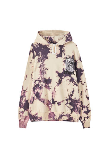 Oversize violet tie-dye hoodie