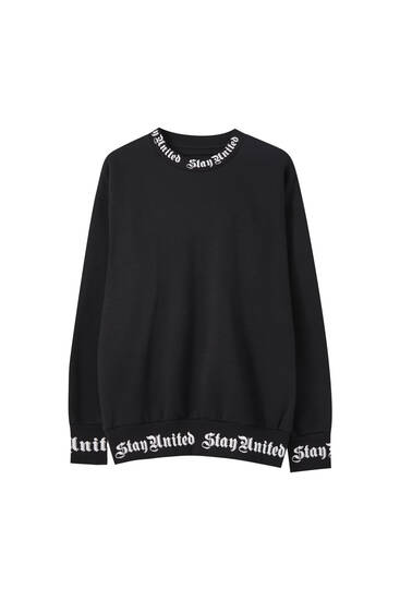 Black sweatshirt with rib slogan