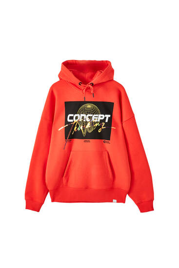 Red hoodie with holographic logo