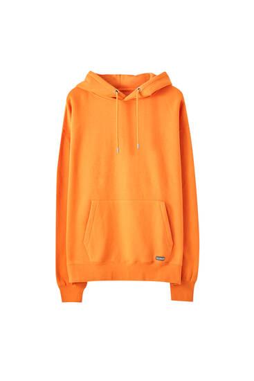 Logolu basic kapüşonlu sweatshirt