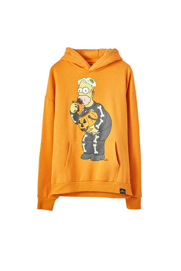 Reflekterende, orange sweatshirt med The Simpsons