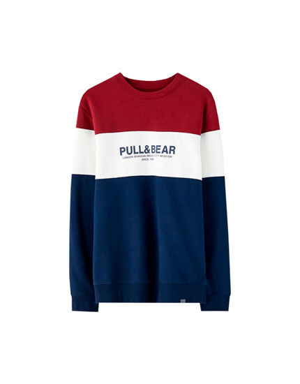 Pull&Bear logo colour block sweatshirt