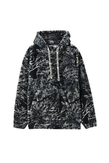 Sudadera capucha sherpa estampado
