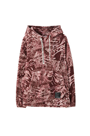 Sweat rose sherpa imprimé