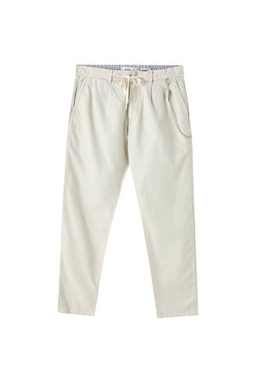 Linen chino trousers with chain detail