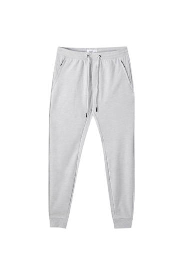Dokulu jogging fit pantolon