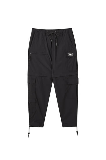 Detachable black cargo trousers