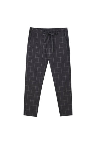 Tailored skinny fit checked trousers