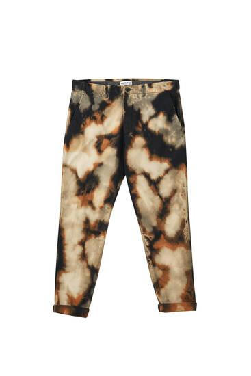 Desenli skinny fit chino pantolon