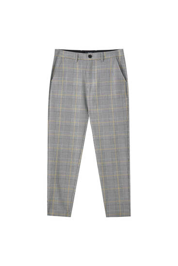 Tailored grey trousers with check print