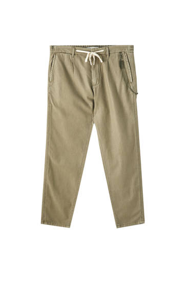 Linen blend chino trousers with chain detail