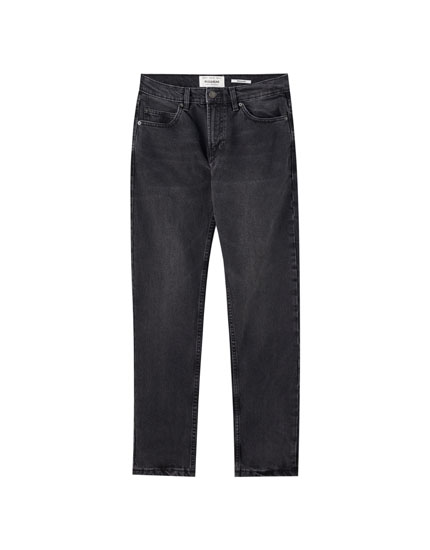 Soluk efektli siyah regular fit jean