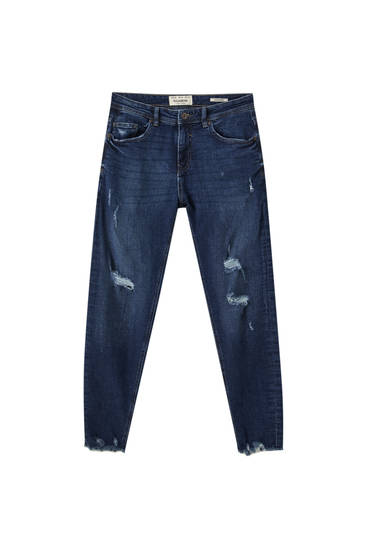 Distressed detaylı basic super skinny fit jean