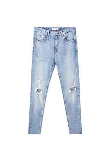 Ripped premium fabric carrot fit jeans