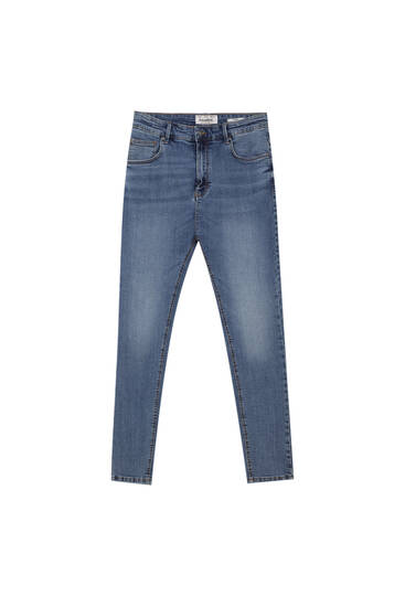 Faded medium blue carrot fit jeans