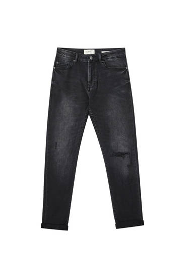 Slim fit jeans med revor