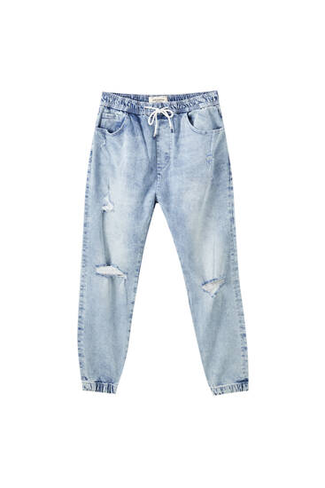 Elastik belli distressed detaylı jogging fit pantolon