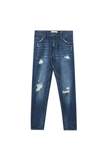 Premium fabric carrot fit jeans