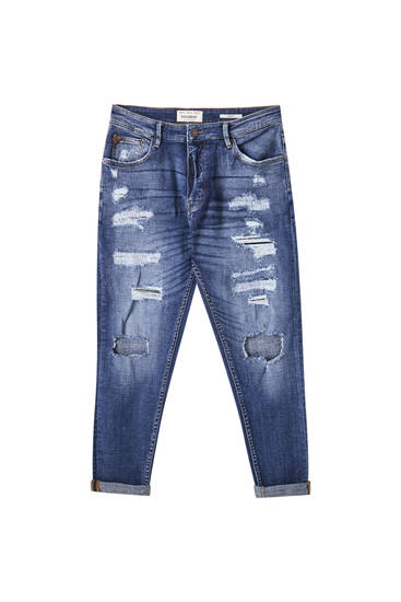 Maksi distressed detaylı carrot fit jean
