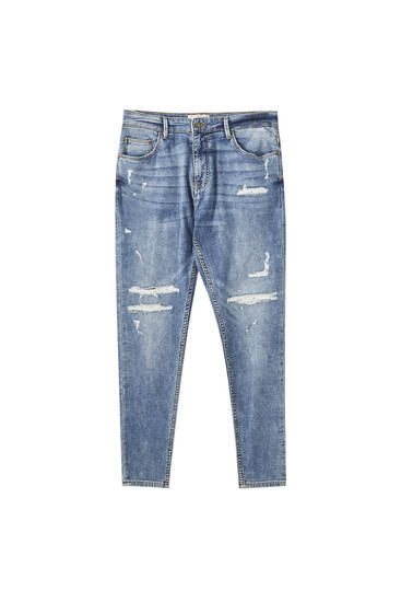 Yumuşak distressed carrot fit jean