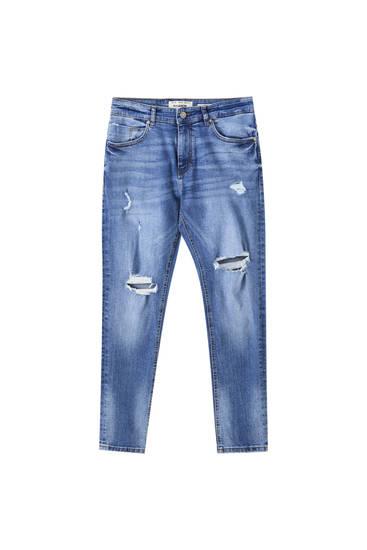Premium mellemblå skinny fit jeans