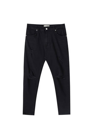 Skinny, carrot fit jeans med huller