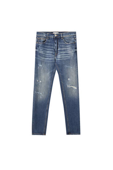 Distressed detaylı premium carrot fit jean