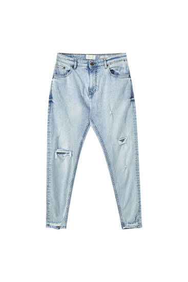 Premium ripped blue carrot fit jeans