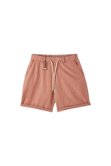 Linen chino-style Bermuda shorts