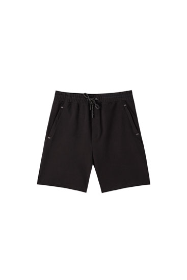 Basic jogging Bermuda shorts in technical fabric