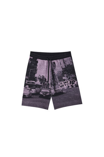 Jogging-style Bermuda shorts with STWD photo print