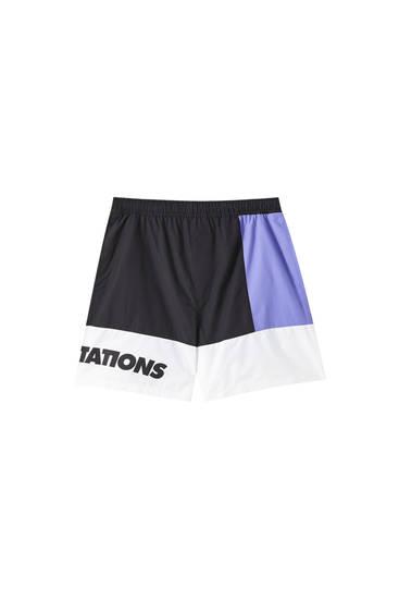 Nylon Bermuda shorts with contrast colour block design