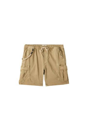 Cargo Bermuda shorts with drawstring detail