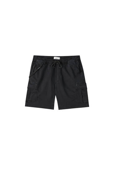 Cargo Bermuda shorts with drawstring detail