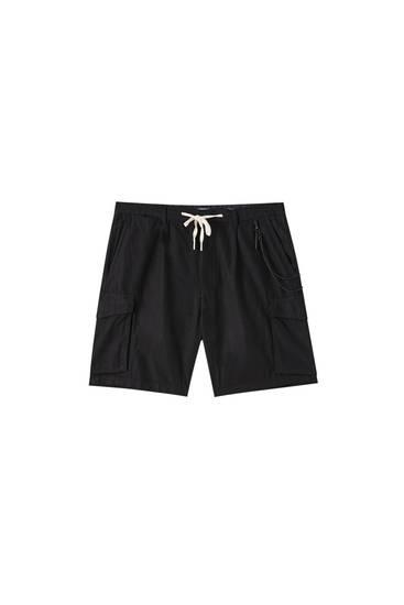 Linen blend cargo Bermuda shorts
