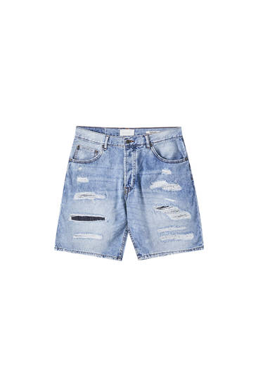 Regular-Fit-Bermudashorts mit Rissen