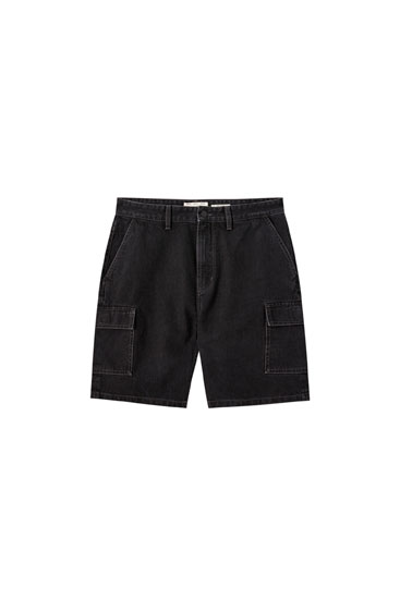 Relaxed fit denim cargo Bermuda shorts
