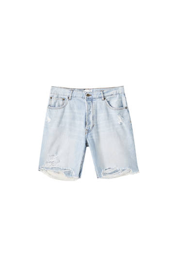 Regular fit Bermuda shorts with unfinished hems