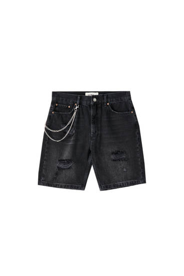 Denim relaxed fit Bermuda shorts with chain detail