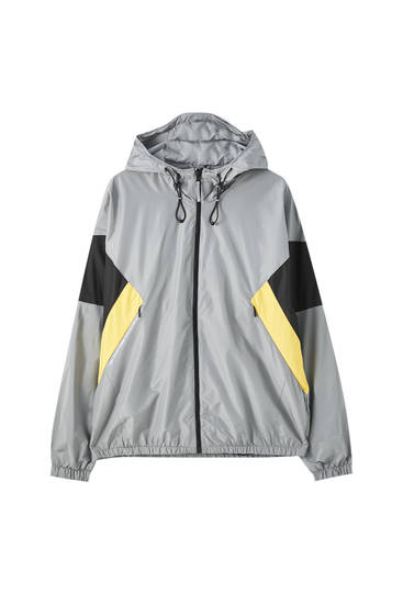 Lightweight colour block raincoat
