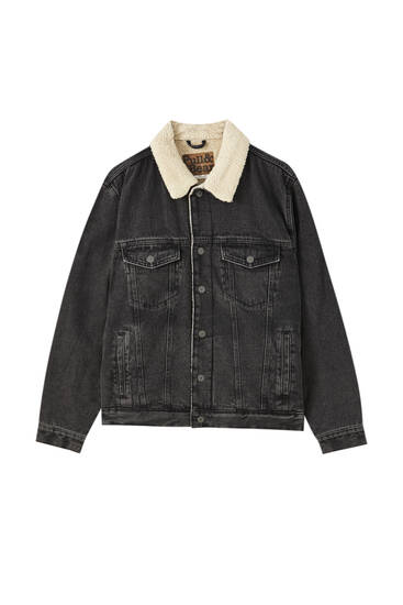 Denim jacket with a faux shearling collar
