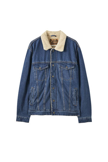 Medium blue denim jacket with faux shearling