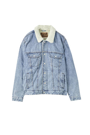 Blue denim jacket with faux shearling detail
