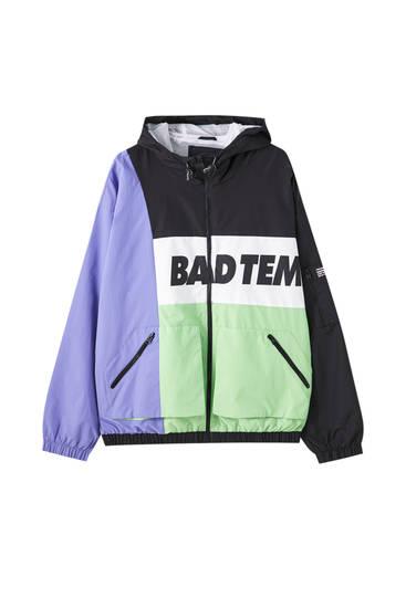 Contrast colour block nylon jacket