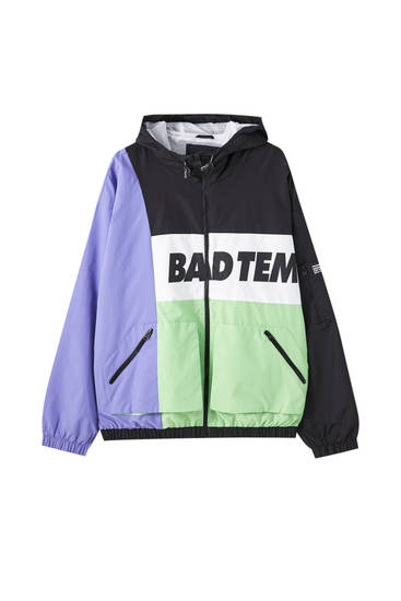 Contrast colour block nylon jacket